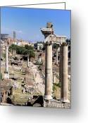 Ancient Rome Greeting Cards - Roman forum. Rome Greeting Card by Bernard Jaubert