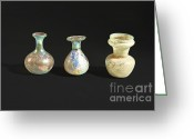 Vases Greeting Cards - Roman glass bottles and jar Greeting Card by Ilan Amihai