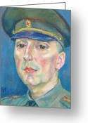 Officer In Uniform Greeting Cards - Roman Karetnikov Greeting Card by Leonid Petrushin