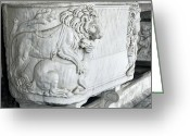Burials Greeting Cards - Roman Marble Sarcophagus Greeting Card by Sheila Terry