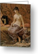 Vedder Greeting Cards - Roman Model Posing Greeting Card by Elihu Vedder