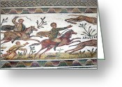 Animals Greeting Cards - Roman Mosaic Greeting Card by Sheila Terry