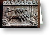 Ancient Art Greeting Cards - Roman Relief: Chariot Race Greeting Card by Granger