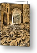 Old World Photography Greeting Cards - Roman Road Greeting Card by David Letts