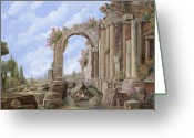 Guido Tapestries Textiles Greeting Cards - Roman ruins Greeting Card by Guido Borelli