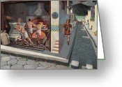 Grinders Greeting Cards - Roman Soldier Walks Down Pompeii Street Greeting Card by H.M. Herget