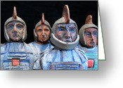 History Ceramics Greeting Cards - Roman Warriors - Bust sculpture - Roemer - Romeinen - Antichi Romani - Romains - Romarere Greeting Card by Urft Valley Art
