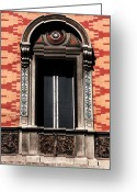 Window Prints Posters Greeting Cards - Roman Window Design Greeting Card by John Rizzuto