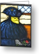 Romance Glass Art Greeting Cards - Romance in Venice Greeting Card by Valerie Lynn