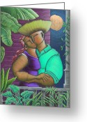 Puerto Rico Drawings Greeting Cards - Romance Jibaro Greeting Card by Oscar Ortiz
