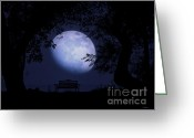 Nightlight Greeting Cards - Romance Moon Greeting Card by Ms Judi