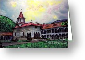 Romania Greeting Cards - Romanian Monastery Greeting Card by Sarah Loft