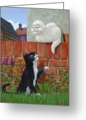 Art On Wall Greeting Cards - Romantic Cute Cats In Garden Greeting Card by Martin Davey