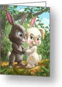 Boy Room Art Greeting Cards - Romantic Cute Rabbits Greeting Card by Martin Davey