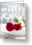 Setting Greeting Cards - Romantic dinner setting Greeting Card by Elena Elisseeva