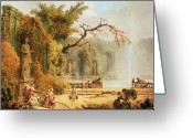 Hubert Greeting Cards - Romantic garden scene Greeting Card by Hubert Robert