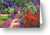 Featured Artist Painting Greeting Cards - Romantic Garden Walk Greeting Card by David Lloyd Glover