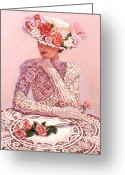 Pastel Roses Greeting Cards - Romantic Lady Greeting Card by Sue Halstenberg
