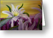 Silver Moonlight Greeting Cards - Romantic Spring Greeting Card by Mark Moore