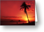 Red Bay Greeting Cards - Romantic Sunset Greeting Card by Melanie Viola