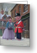 M P Davey Digital Art Greeting Cards - Romantic Victorian Pigs In Snowy Street Greeting Card by Martin Davey
