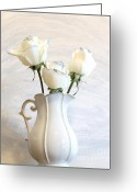 Wrap...floral Greeting Cards - Romantic White Roses Greeting Card by Marsha Heiken