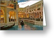 Venice Waterway Greeting Cards - Romanza Greeting Card by Greggory Poitras