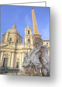 Baroque Greeting Cards - Rome - Fontana dei Quattro Fiumi Greeting Card by Joana Kruse