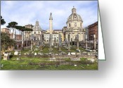 Ancient Rome Greeting Cards - Rome - Forum of Trajan Greeting Card by Joana Kruse
