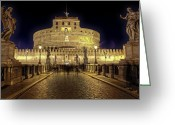 Baroque Greeting Cards - Rome castel sant angelo Greeting Card by Joana Kruse