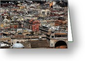 Old Prints Posters Greeting Cards - Rome Cityscape 7 Greeting Card by John Rizzuto