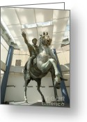 Riders Greeting Cards - Rome Italy. Capitoline Museums Emperor Marco Aurelio Greeting Card by Bernard Jaubert