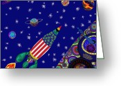 Outerspace Greeting Cards - Romney Rocket - Destination Mars 2023 Greeting Card by Robert  SORENSEN