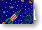Outerspace Greeting Cards - Romney Rocket - Restoring Americas Promise Greeting Card by Robert  SORENSEN