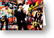 Rolling Stones Mixed Media Greeting Cards - Ron Mick Charlie Keith Greeting Card by Kevin Newton
