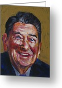 Republican Painting Greeting Cards - Ronald Reagan Greeting Card by Buffalo Bonker