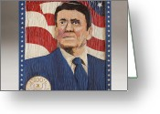 Woodcarving Reliefs Greeting Cards - Ronald Reagan Centennial Celebration Greeting Card by James Neill
