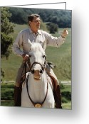 Ronald Greeting Cards - Ronald Reagan On Horseback  Greeting Card by War Is Hell Store