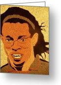 Portrait Reliefs Greeting Cards - Ronaldinho Greeting Card by Kovats Daniela