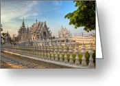 Buddhist Digital Art Greeting Cards - Rong Khun Temple Greeting Card by Adrian Evans