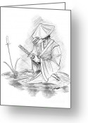 Ball Point Pen Greeting Cards - Ronin Samurai Greeting Card by Baron Pollak