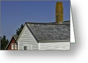 Clapboard Houses Greeting Cards - Roof lines and chiminey at the Sky Greeting Card by Jack Goldberg