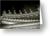Nightshot Greeting Cards - Roof National Palace Museum Taiwan City - Taipei  Greeting Card by Christine Till