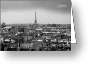 Above Greeting Cards - Roof of Paris. France Greeting Card by Bernard Jaubert