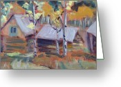 Log Cabins Painting Greeting Cards - Roof Tops at Columbine Colorado Greeting Card by Zanobia Shalks