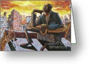 Urban Painting Greeting Cards - Roof Trane Greeting Card by Sean Hagan