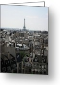 Overhead Greeting Cards - Roofs of Paris. France Greeting Card by Bernard Jaubert