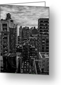 Rooftop View In New York Greeting Cards - Rooftop BW16 Greeting Card by Scott Kelley