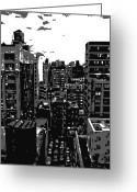 Rooftop View In New York Greeting Cards - Rooftop BW3 Greeting Card by Scott Kelley