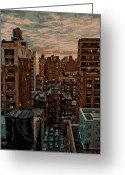 Rooftop View In New York Greeting Cards - Rooftop Color 16 Greeting Card by Scott Kelley